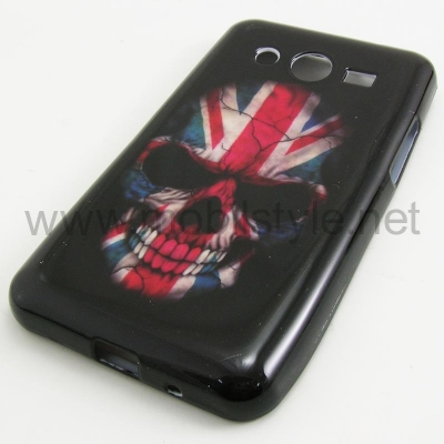 Силиконов калъф / гръб / TPU за Samsung G355 Galaxy Core 2 / Samsung Galaxy Core II G355 - Skull / British Flag