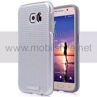Твърд гръб MOTOMO TPU PC Hybrid Case за Samsung Galaxy S6 Edge G925 - сребрист