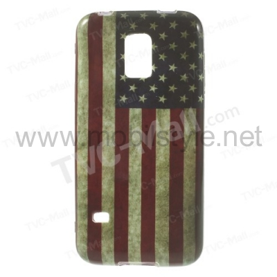 Силиконов гръб / калъф / TPU за Samsung Galaxy S5 mini G800 - Retro American flag