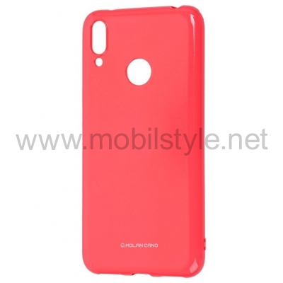 Силиконов калъф / гръб / Molan Cano Glossy Jelly Case за Xiaomi Redmi Note 7 - розов / гланц / брокат