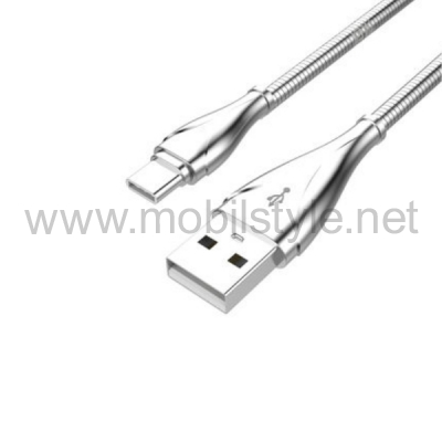 Оригинален USB кабел LDNIO Type-C USB Cable LS-28 ZINC ALLOY за Samsung, LG, HTC, Sony, Lenovo и други - сребрист / 1 метър