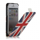 Кожен калъф Flip тефтер за Apple iPhone 5 - British flag