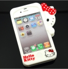 Силиконов калъф / гръб / TPU 3D за Apple iPhone 4 / 4S - Lovely Hide Hello Kitty