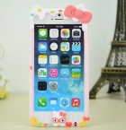 Силиконов бъмпер / Bumper за Apple iPhone 4 / iPhone 4S - Hello Kitty / розов